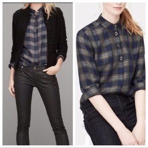 LOFT • Plaid Jewel Button Down